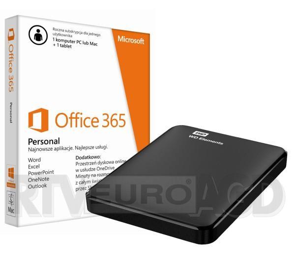 Dysk zewnętrzny WD Elements Portable 1,5TB USB 3.0 + Office 365 za 299zł @ Euro