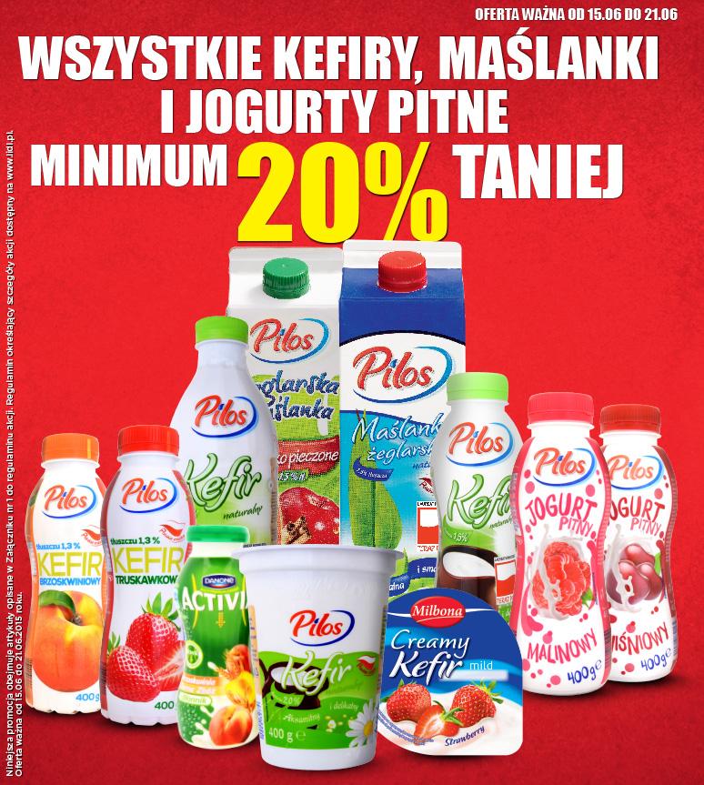 Jogurty pitne, kefiry i maślanki taniej o min.20% @ Lidl