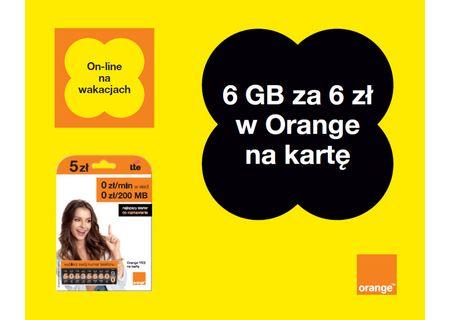 Pakiet internetowy 6GB za 6zł na wakacje @ Orange