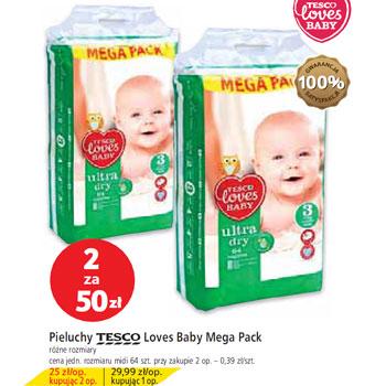 Pieluchy Tesco Loves Baby, 2 paczki za 50zł @ Tesco
