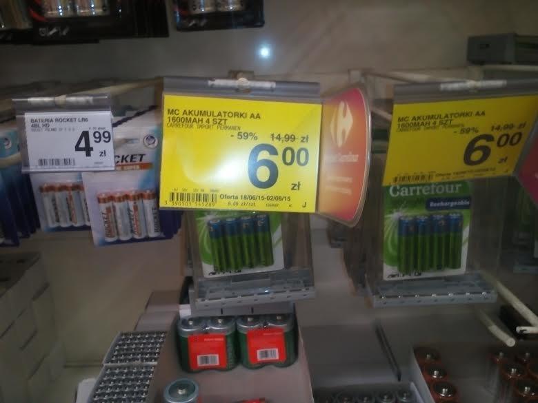 4 akumulatorki AA za 6zł @ Carrefour