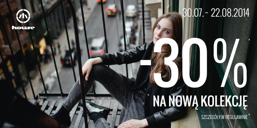 -30% na nową kolekcję przy zakupach za 50zł @ House