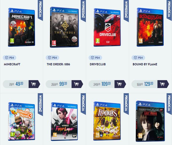 Gry na Playstation 4 od 49,99zł (np. The Order 1886 za 99,99zł) + darmowa dostawa @ CDP