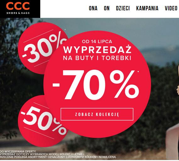 Rabaty do -70% na buty i torebki @ CCC