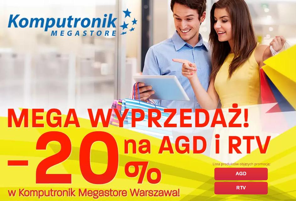 -20% na całe RTV i AGD w Komputronik Megastore w Warszawie