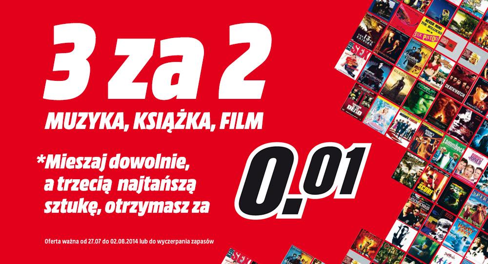 Trzeci produkt z kategorii książka, film, muzyka za 1gr @ Media Markt