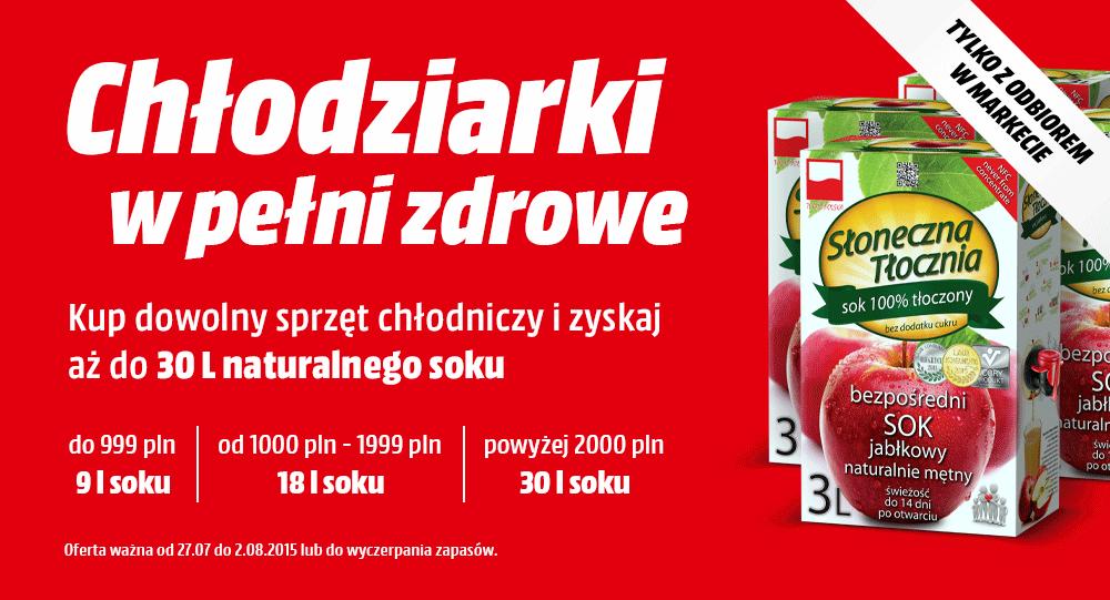 """Soki """"Słoneczna Tłocznia"""" przy zakupie dowolnej chłodziarki @ Media Markt"""