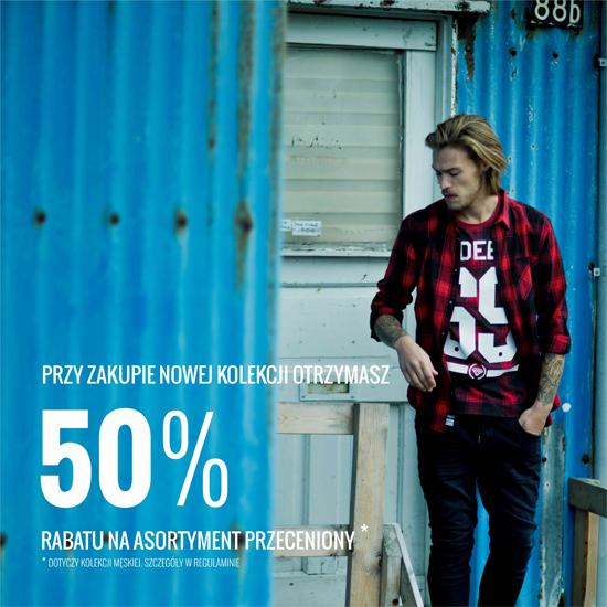 Rabat -50% na przeceniony asortyment przy zakupie produktu z nowej kolekcji (dot.kolekcji męskiej) @ House