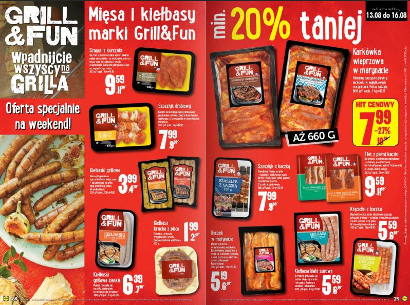 Minimum 20% rabatu na całą ofertę Grill&Fun (mięsa i kiełbasy na grilla) @ Lidl
