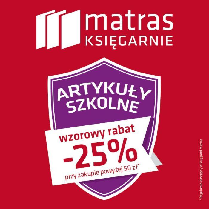 -25% na artykuły szkolne przy zakupach za 50zł @ Matras