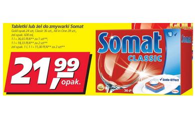 Tabletki lub żel do zmywarki Somat, drugie opakowanie za 1 GROSZ @ Real