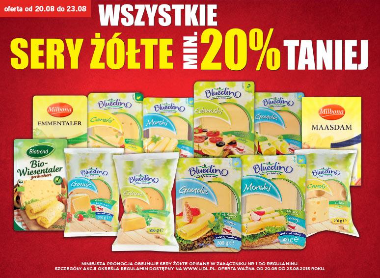 Wszystkie sery żółte taniej o min. 20% (od 20.08) @ Lidl