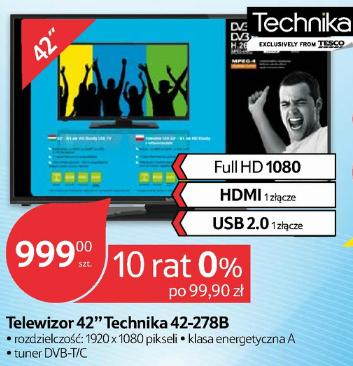 Telewizor 42 cale FULL HD Technika 42-278B za 999zł @ Tesco
