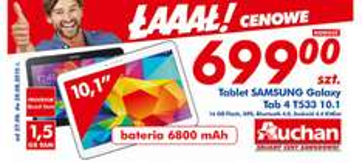 "Tablet Samsung Galaxy 4 T533 (10.1"", 1,5GB ram, 16GB pamięci, Android 4.4) @ Auchan"