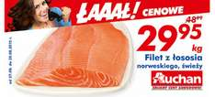 Filet z łososia norweskiego (świeży) za 29,95zł/kg @ Auchan