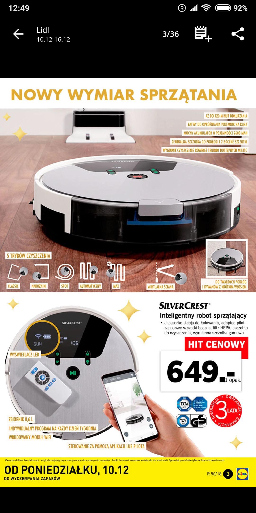 Inteligentny Robot Sprzątający Wi Fi Silvercrest At Lidl Pepperpl