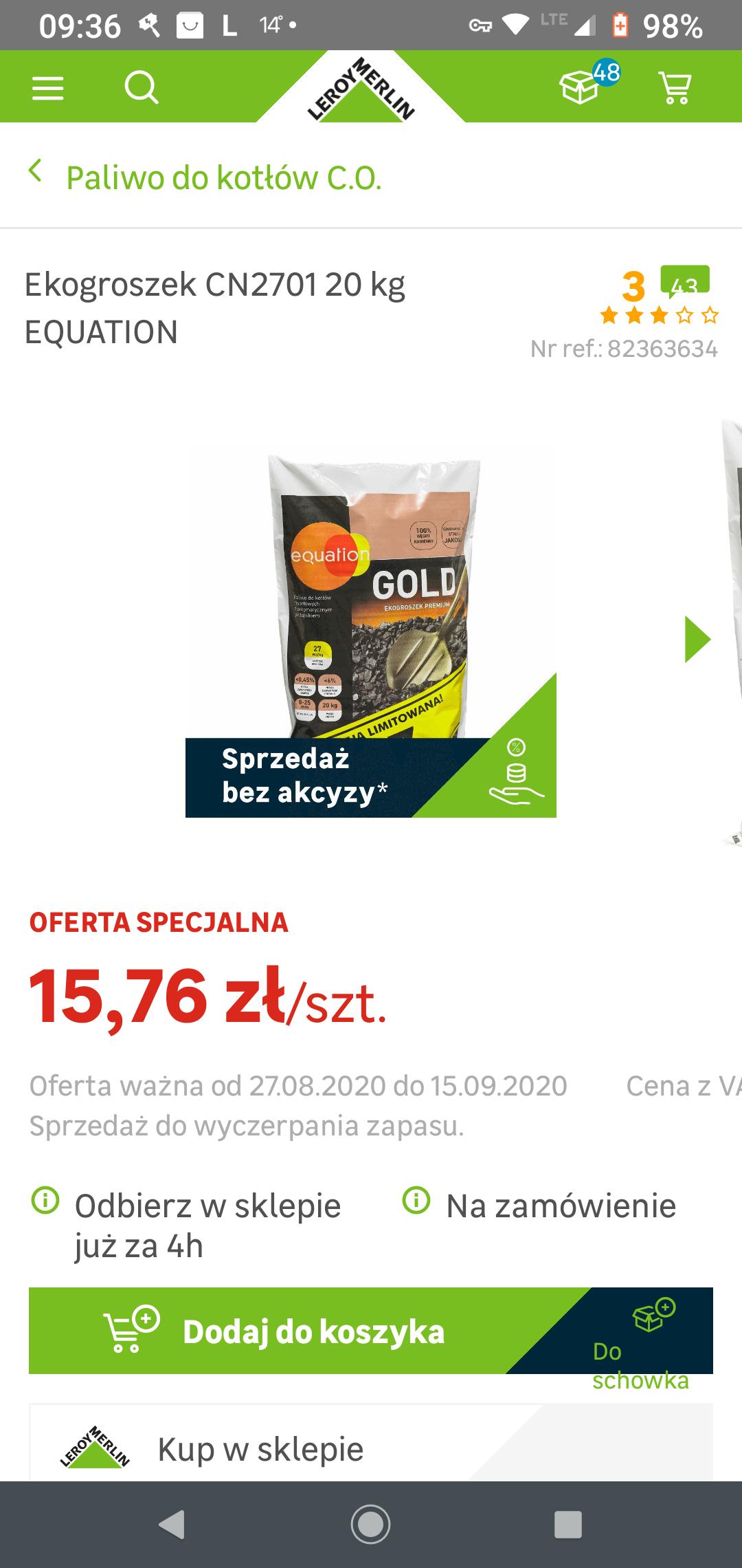 Promocja Ekogroszku Equation Gold 27mj 20kg Leroy Merlin Pepper Pl