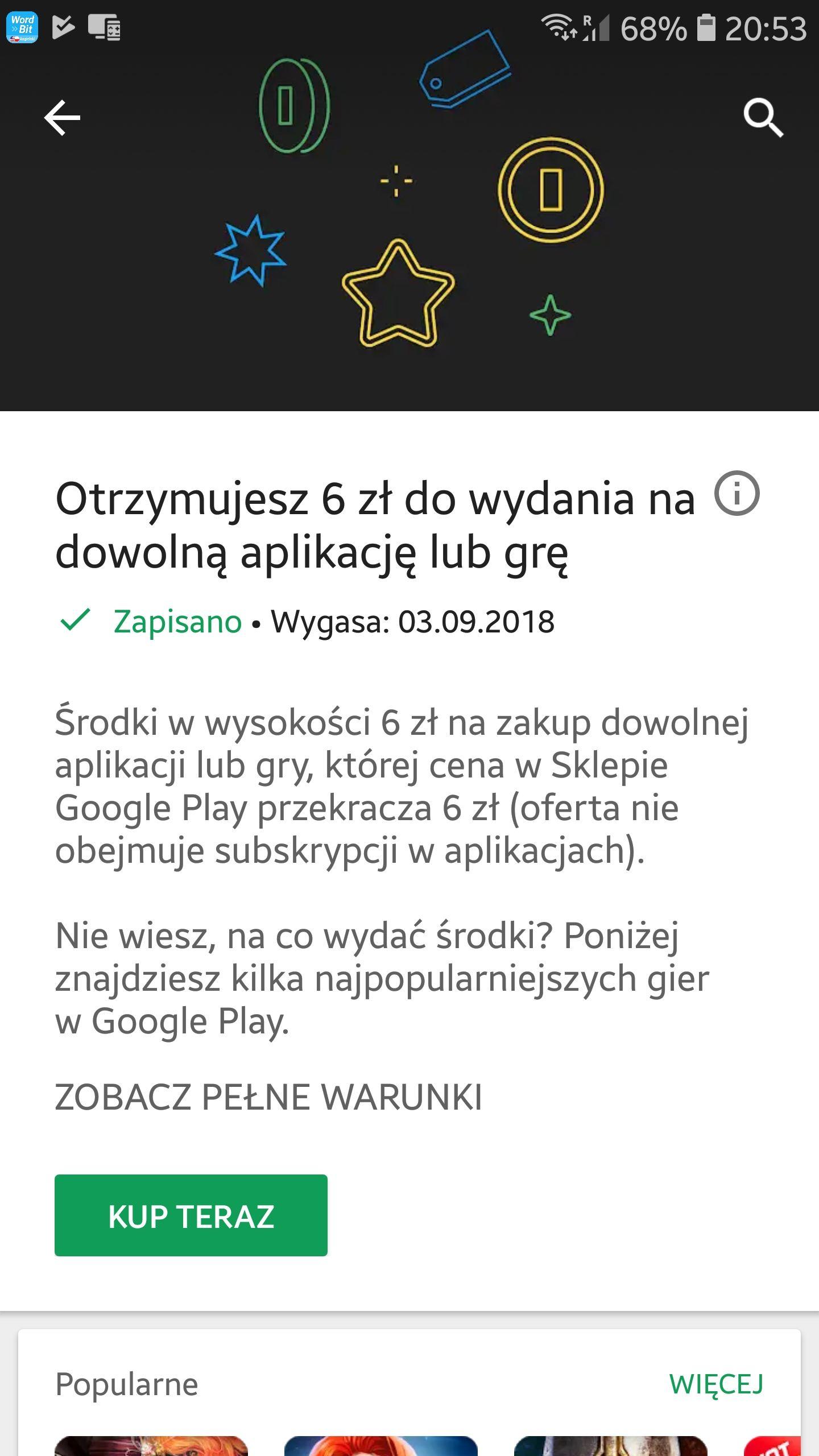 W Google Play 6 Zl Do Wykorzystania Na Zakup Aplikacji Itp Pepper Pl