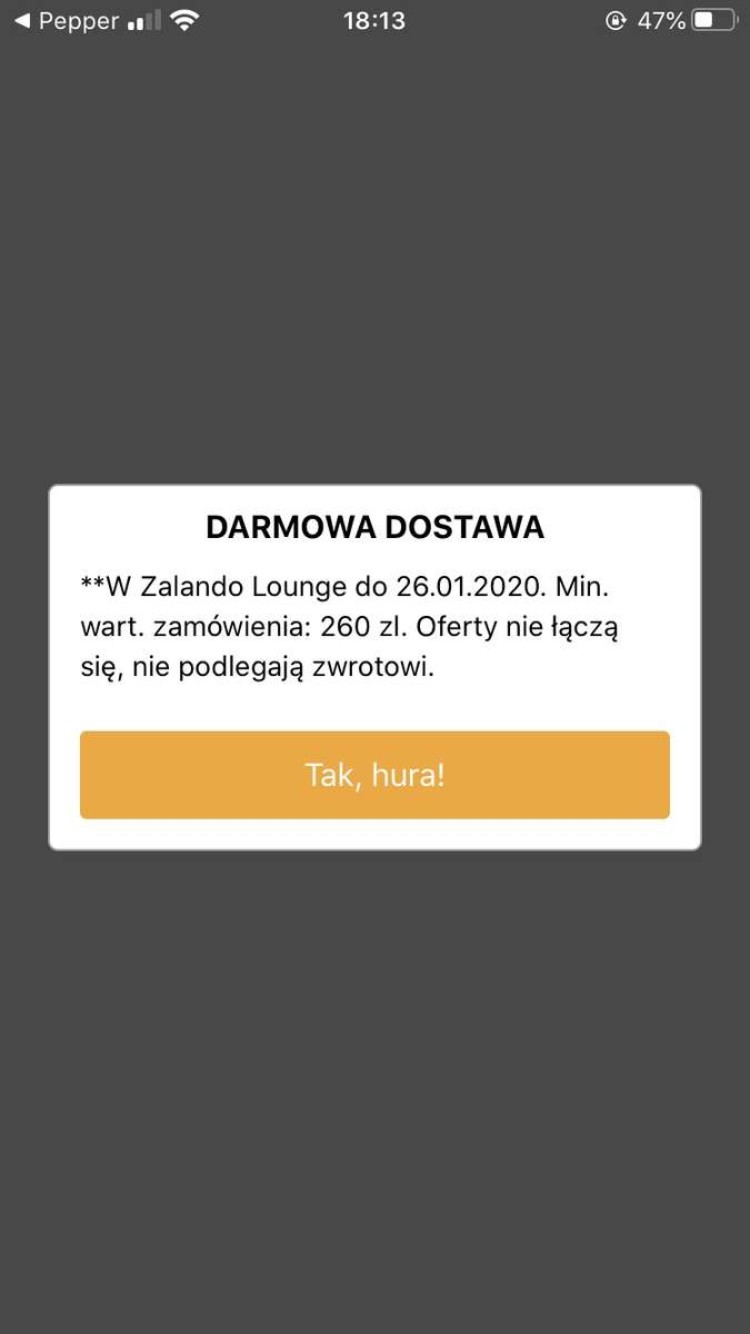 Kod na darmowa dostawe na Zalando Lounge Pepper.pl