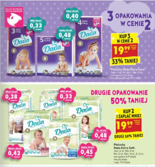 Pieluszki Dada za 19,99zł (Extra Soft i Extra Care), Pampers Active Baby za 43,99zł @ Biedronka