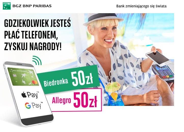 100zł za płatności mobilne kartą Mastercard Banku BGŻ BNP Paribas