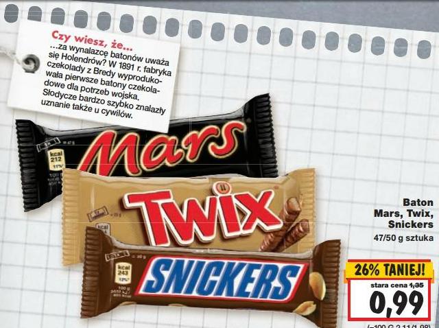Batony: Mars, Snickers i Twix za 99 groszy @ Kaufland