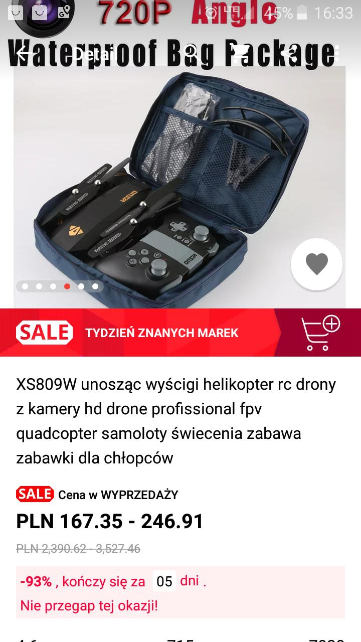 Dron z aliexpres w zestawie.