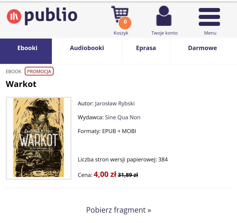 """PUBLIO - Książka (ebook)  """"Warkot"""" Jarosław Rybski"""