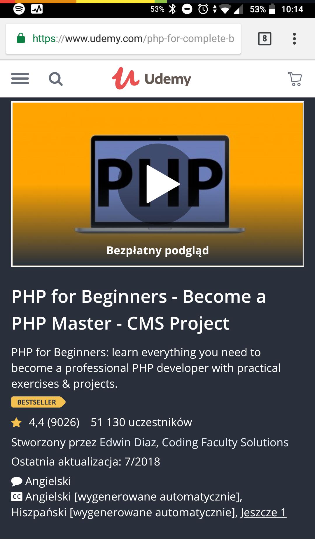 Kurs PHP dla początkujących 36 godzin kurs online w przeglądarce