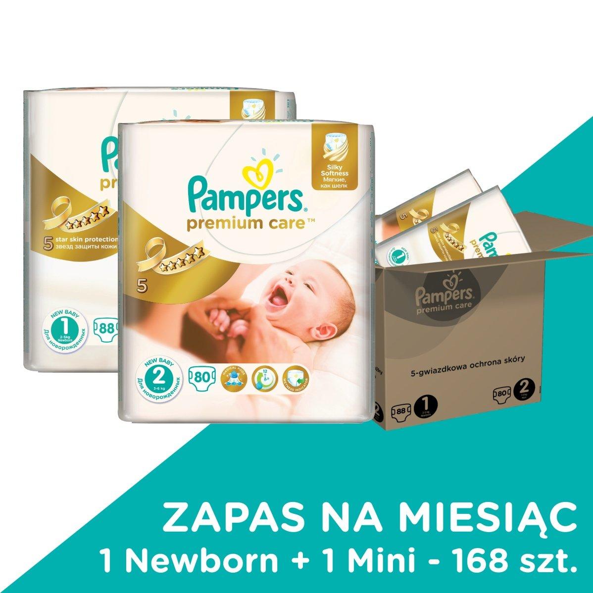 Pampers, Premium Care, Mega Box, Pieluchy jednorazowe, New Born, 2-5 kg, oraz Mini, 3-6 kg, Zapas na miesiąc, 168 szt.