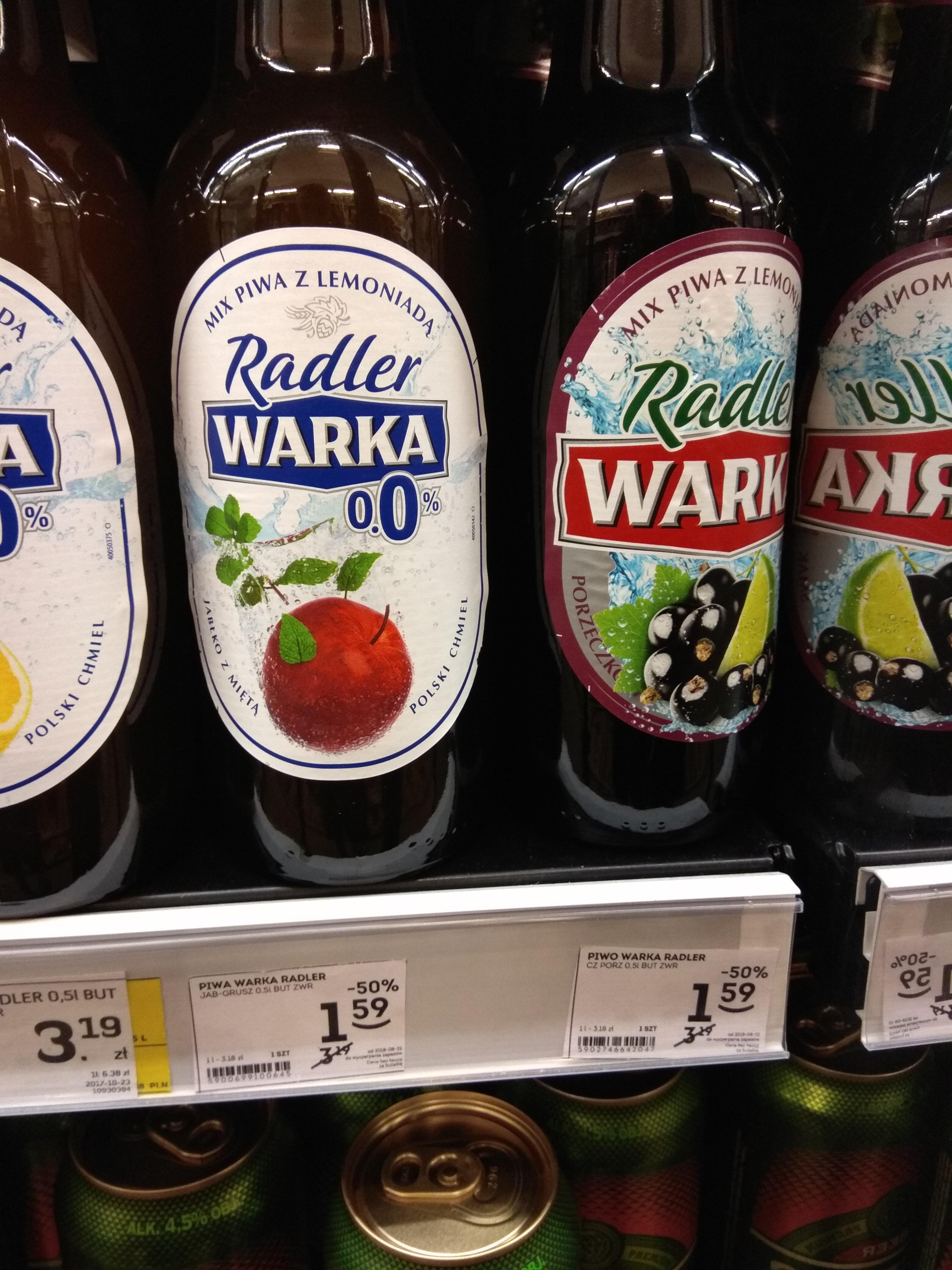 Piwo warka radler dwa smaki
