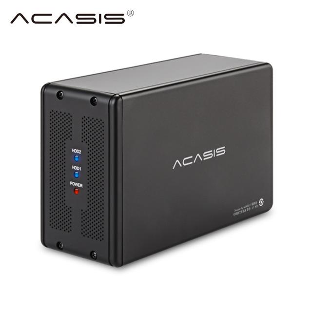 """Kieszeń Acasis USB 3.0 na 2 dyski 3.5"""" do 10TB z macierzą RAID0/1, JBOD - 42,25$ w aplikacji Ali"""