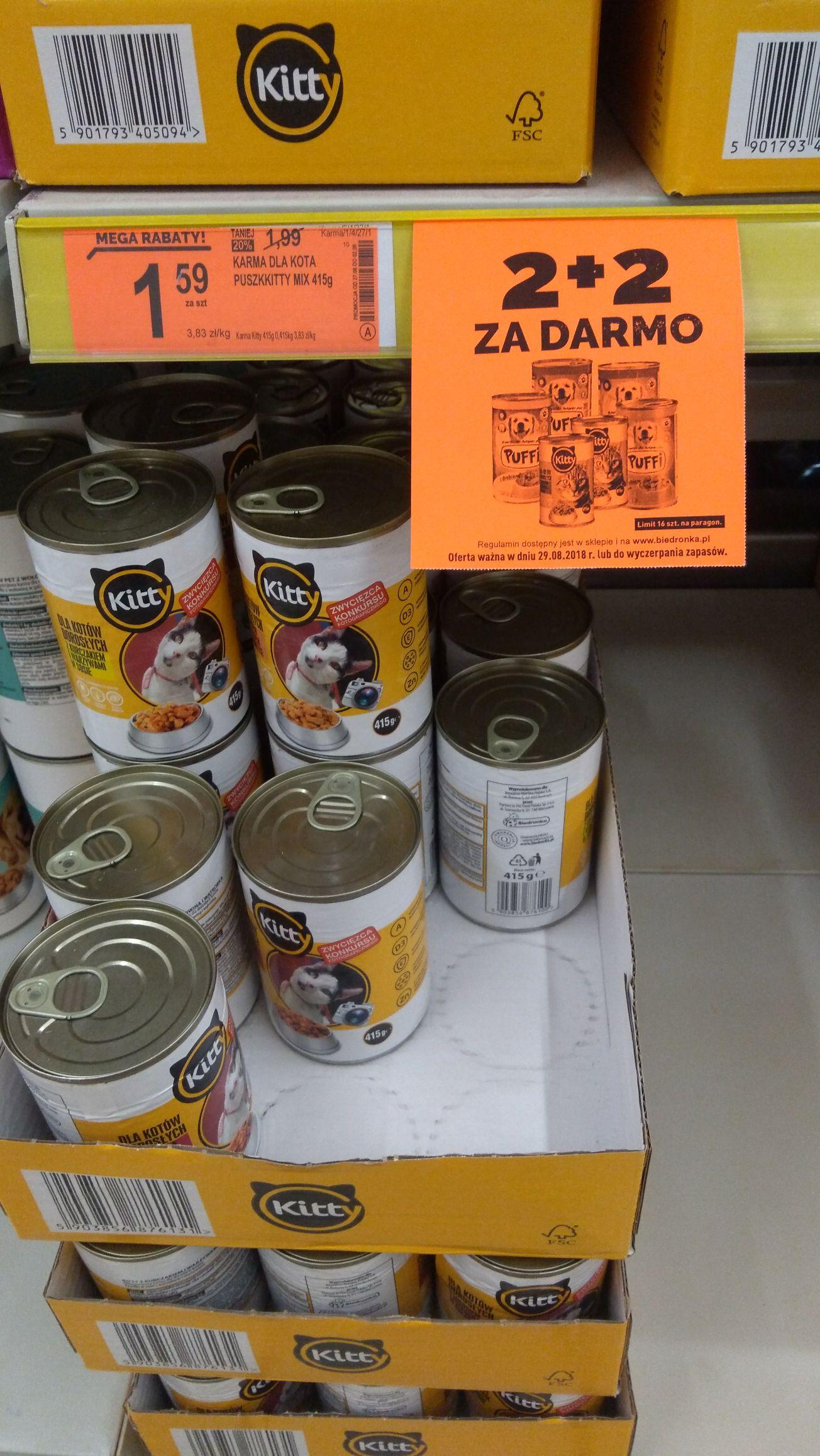 Okazja Biedronka tylko dzisiaj, karma dla kotów i psów 2+2 gratis i -20 % mega rabaty