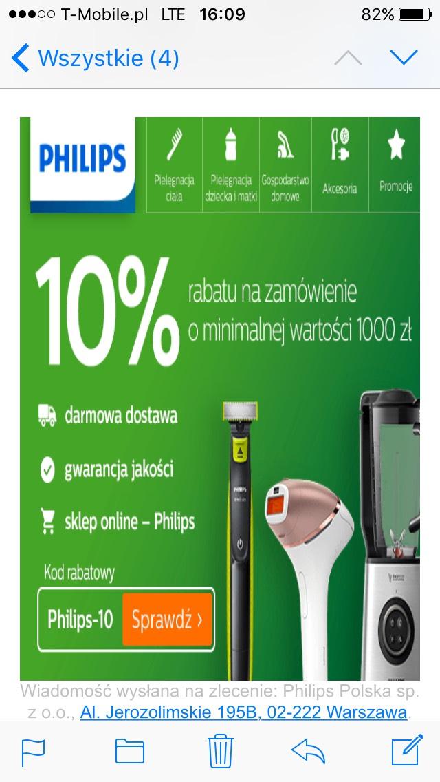 -10% rabatu w sklepie Philips mwz 1000zł