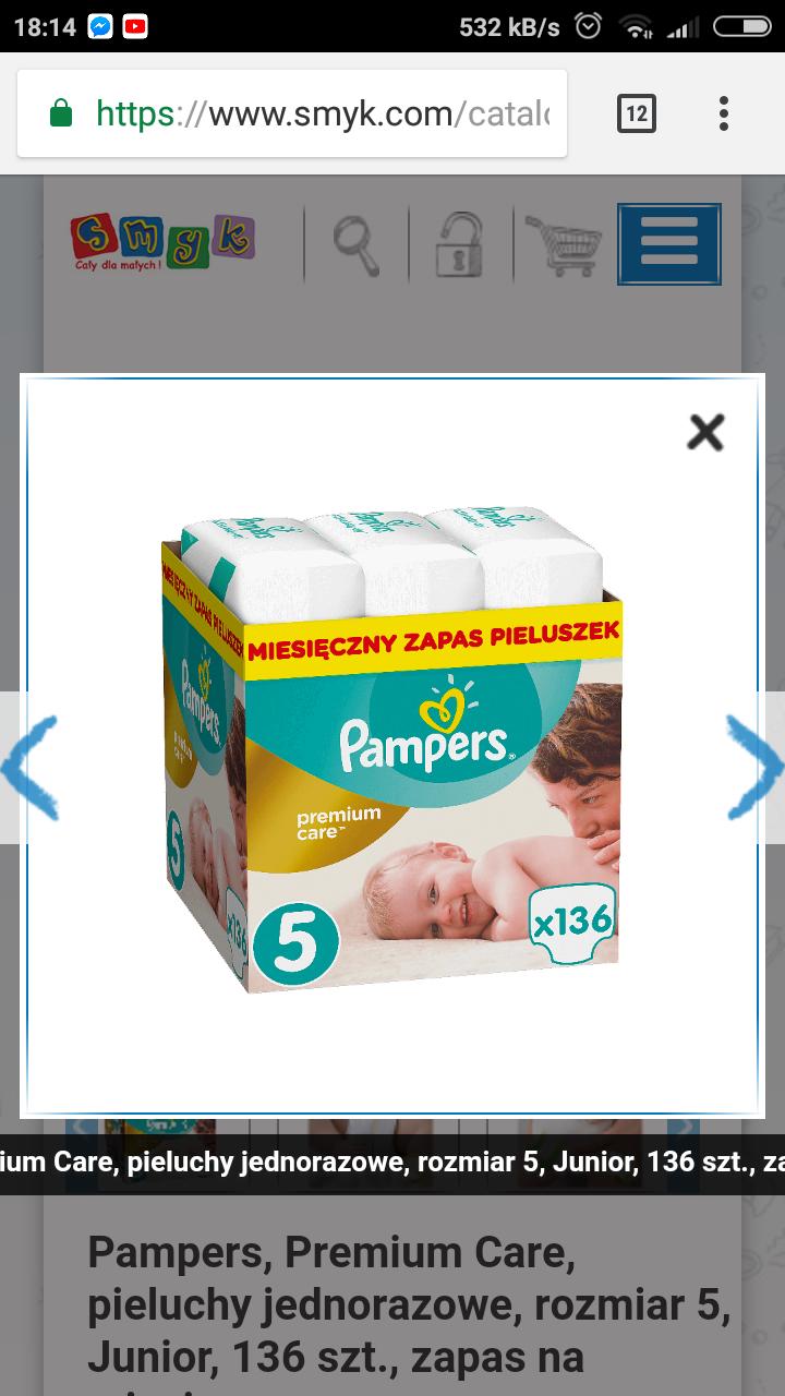 Pieluszki Pampers Premium Care 136 szt. rozmiar 5, SMYK