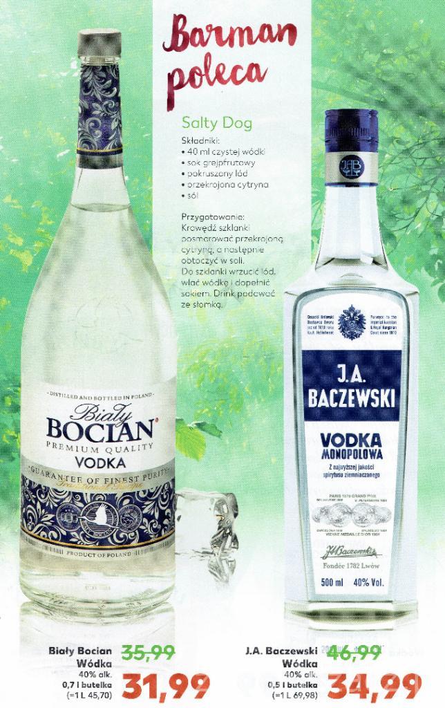 Wódka Biały Bocian 0,7L (31,99zł) i J.A. Baczewski 0,5L (34,99zł) @ Kaufland