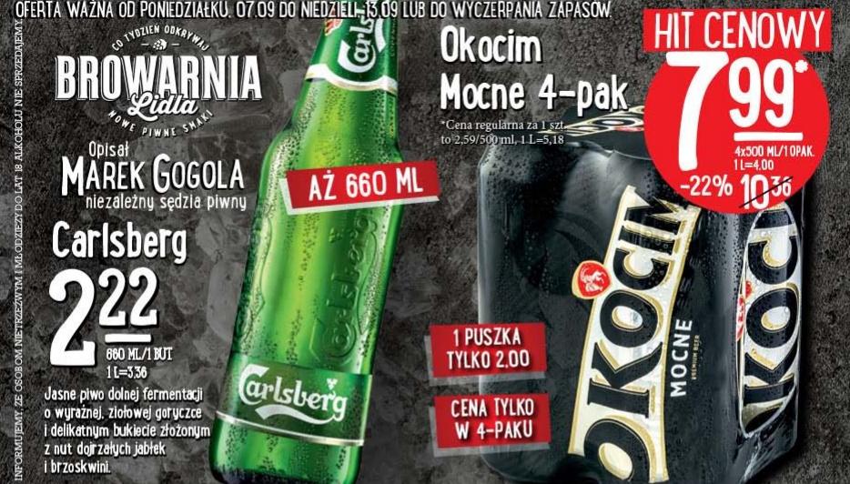 Carlsberg 0,66l za 2,22zł; Okocim Mocne 4-pak za 7,99zł @ Lidl