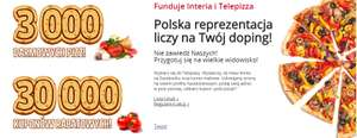 4 września - 3000 darmowych pizz oraz 30000 kuponów rabatowych @ Telepizza
