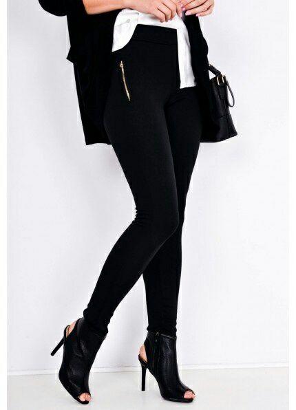 Czarne legginsy rurki z kieszeniami na zamek