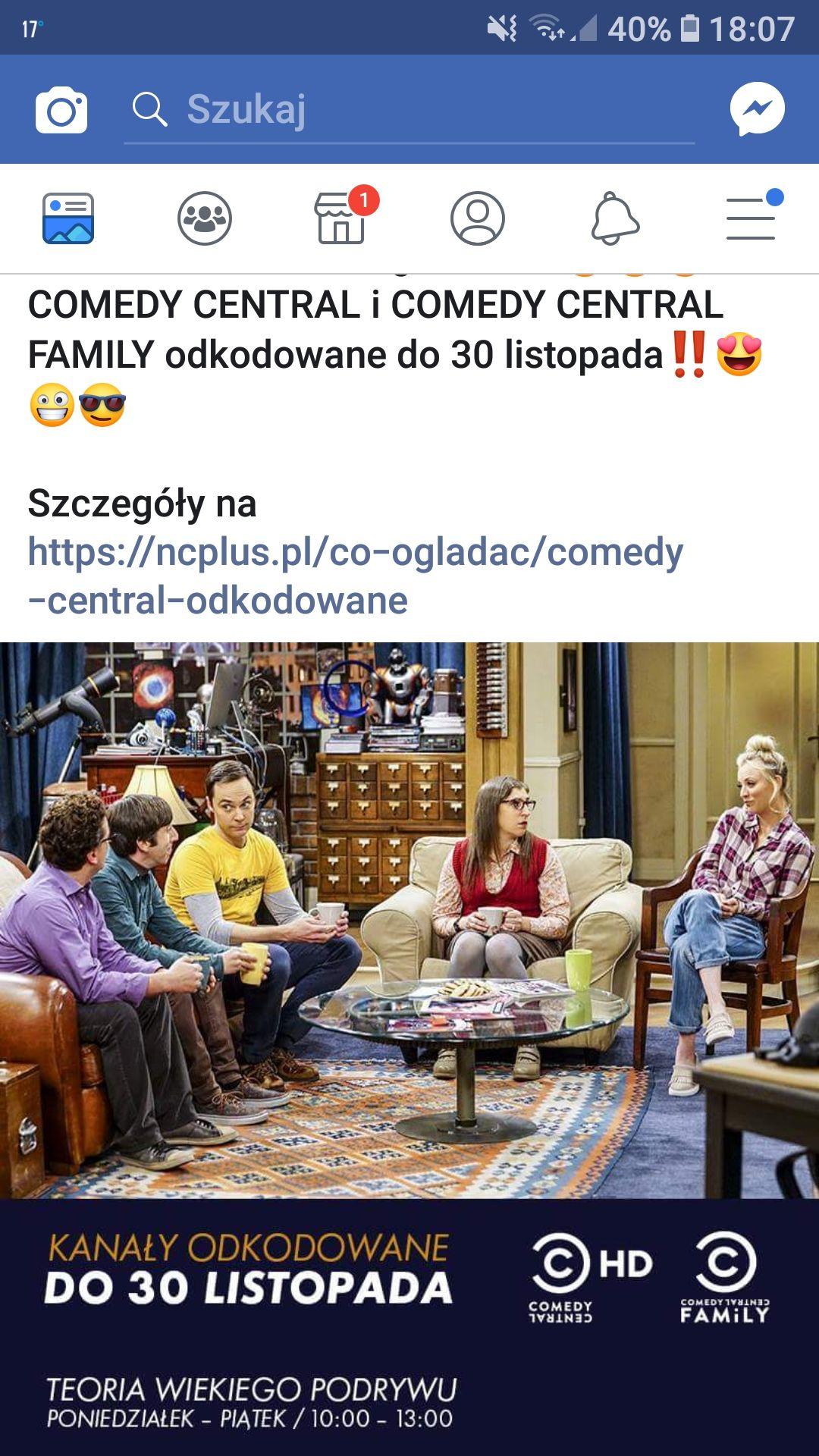 Comedy Central i Comedy Central Family odkodowane do 30 listopada dla abonentów @Ncplus