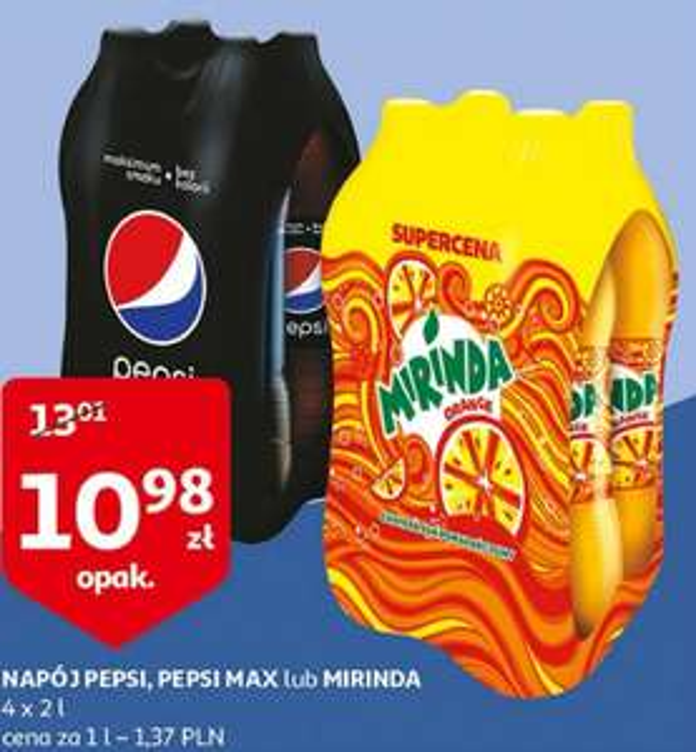 Pepsi, Pepsi Max lub Mirinda 4 x 2 litry za 10,98 zł (1,37/L)