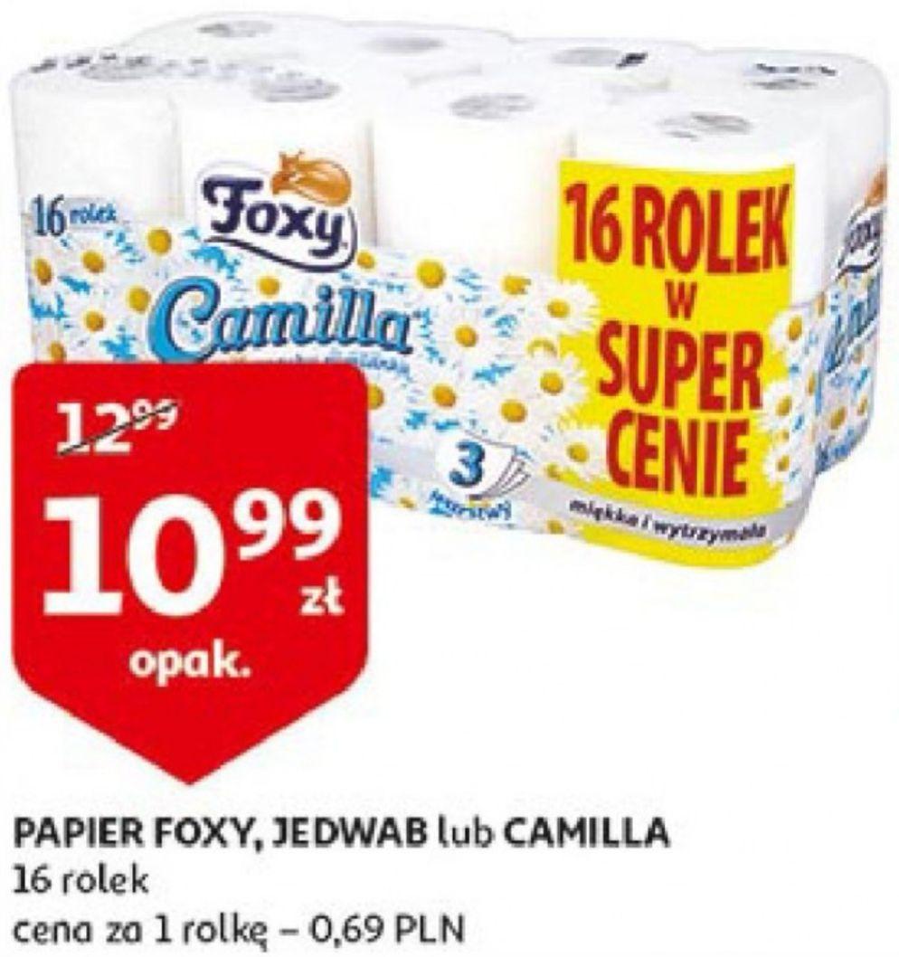 Auchan - papier toaletowy FOXY 16 szt za 10,99 zł. 3-warstwowy (69gr/szt)