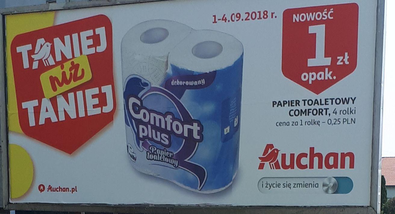 Papier toaletowy comfort 4 rolki Auchan cena szt 0.25 gr !