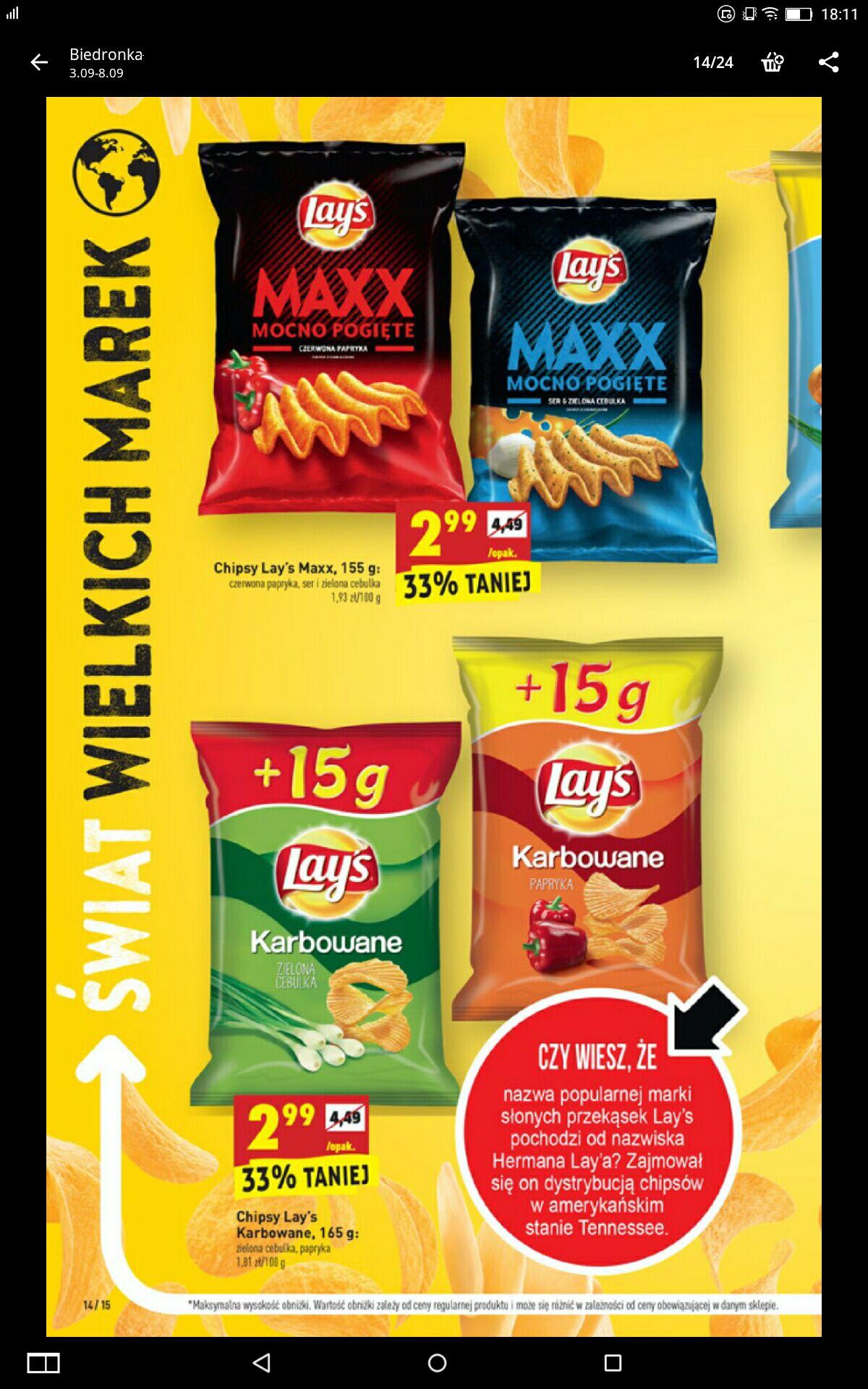 Chipsy Lays MAXX MOCNO POGIĘTE w Biedronce taniej nawet o 33% !!!