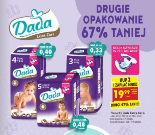 Pieluszki Dada Extra Care za 19,99zł, Camper Box za 37,49zł @ Biedronka