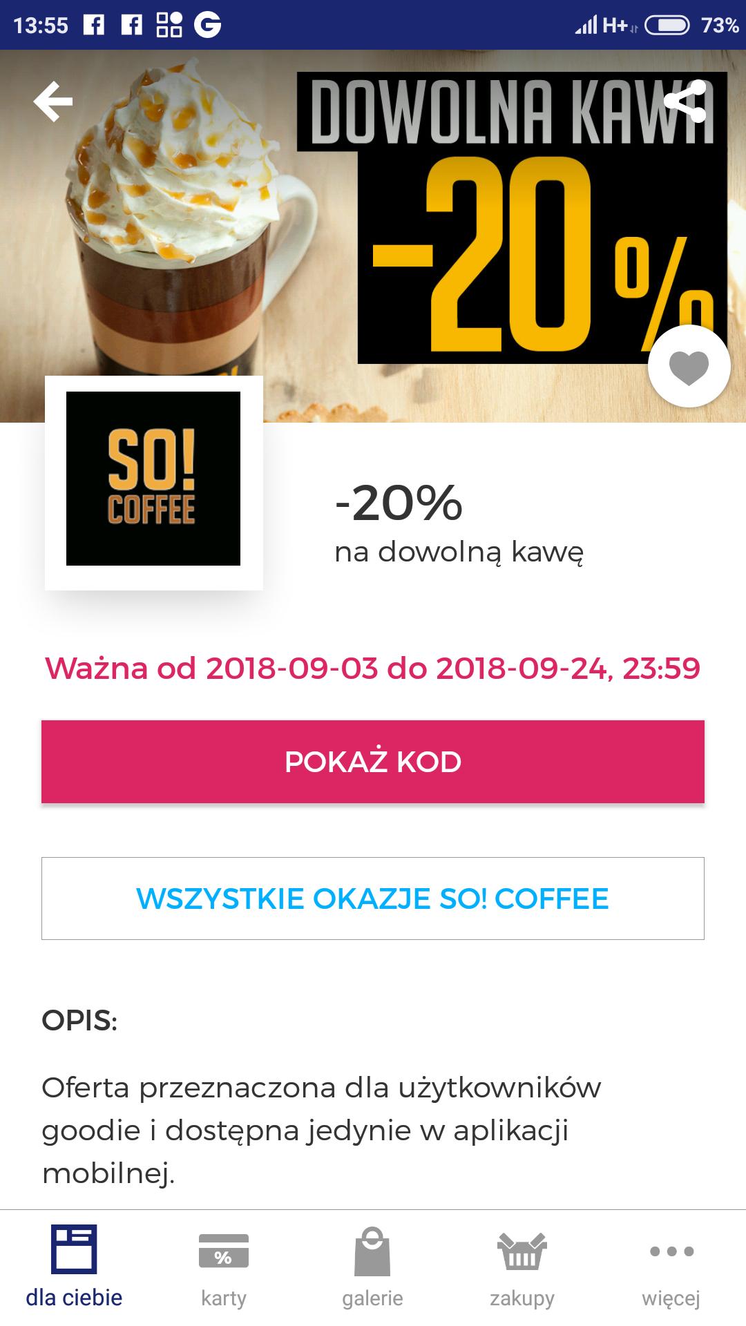 Goodie -20% dla maniaków kawy w SO! COFFE