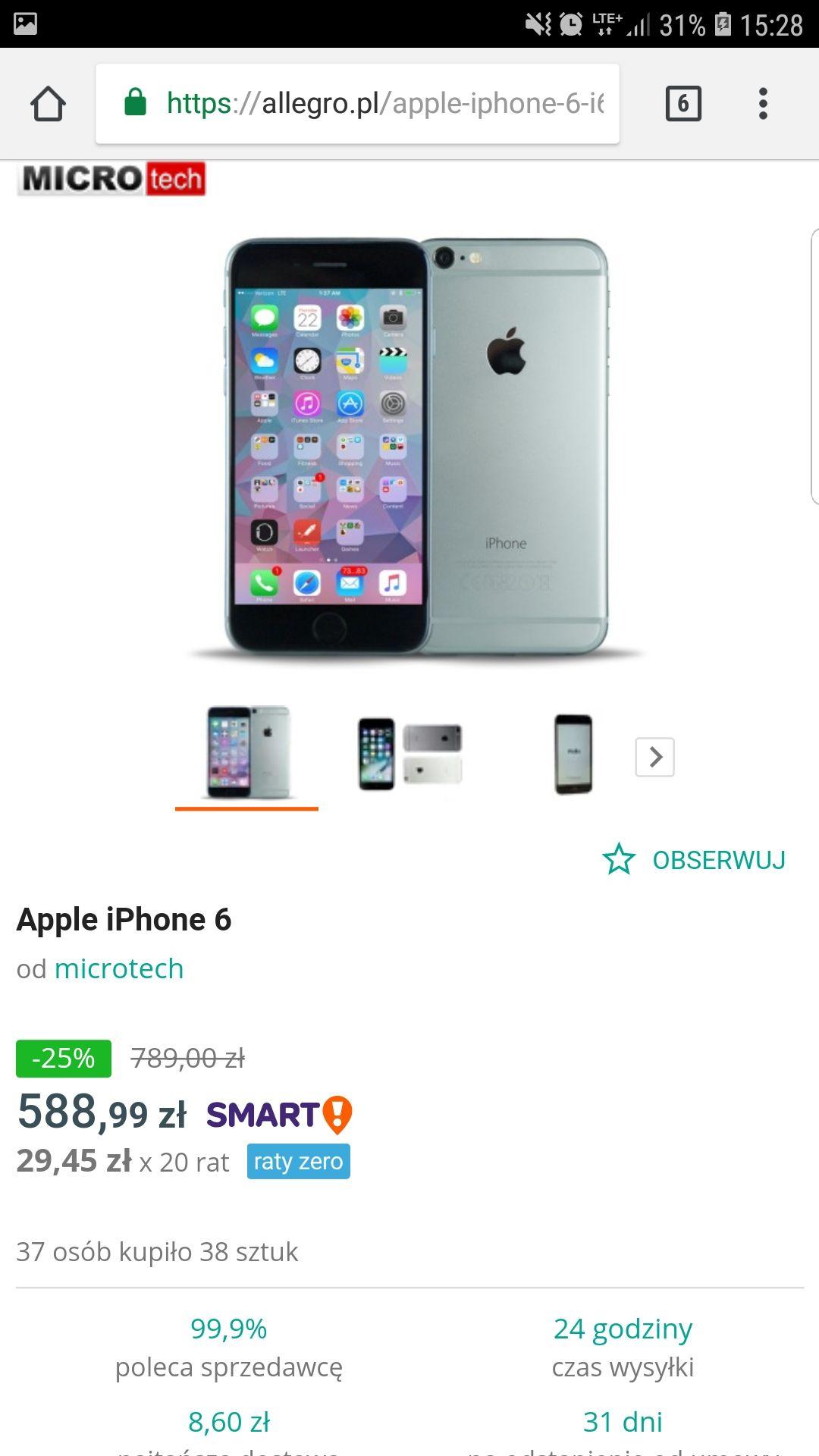 Iphone 6 16gb 102 sztuki używek 100%sprawnych