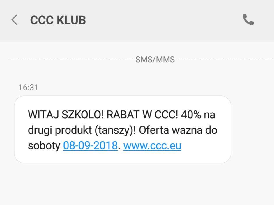 Witaj szkoło CCC - 40% na drugi produkt