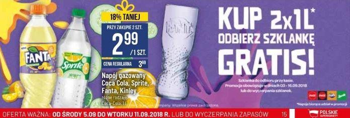 Szklanka gratis za zakup 2x 1L Coca-Cola, Fanta lub Sprite @ POLOmarket