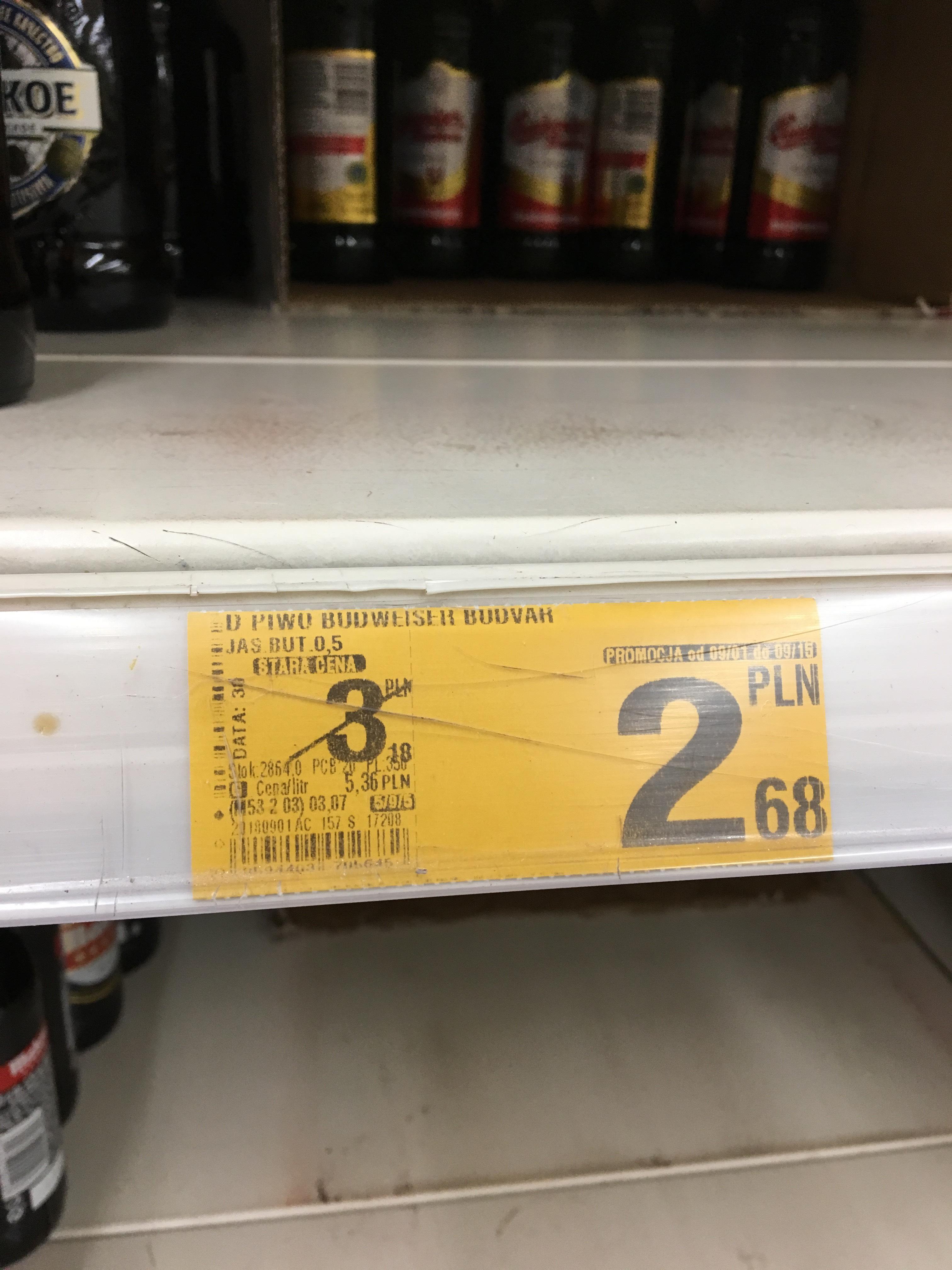 Piwo Budweiser jasne, Auchan Galeria Bronowice Kraków